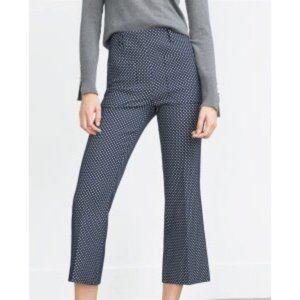 Zara High Waist Polka Dot High Waist Cropped Pants